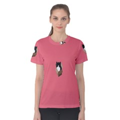 Minimalism Cat Pink Animals Women s Cotton Tee by Mariart