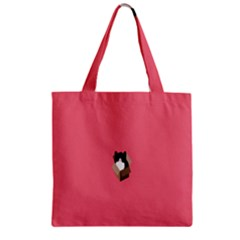 Minimalism Cat Pink Animals Zipper Grocery Tote Bag by Mariart