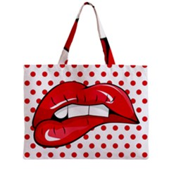 Sexy Lips Red Polka Dot Zipper Mini Tote Bag by Mariart