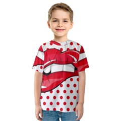 Sexy Lips Red Polka Dot Kids  Sport Mesh Tee
