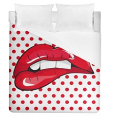 Sexy Lips Red Polka Dot Duvet Cover (queen Size) by Mariart