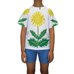 Sunflower Floral Flower Yellow Green Kids  Short Sleeve Swimwear by Mariart