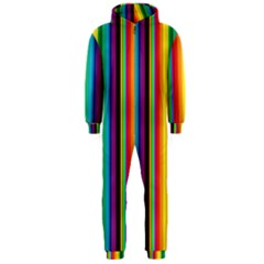 Multi Colored Colorful Bright Stripes Wallpaper Pattern Background Hooded Jumpsuit (men)