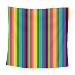 Multi Colored Colorful Bright Stripes Wallpaper Pattern Background Square Tapestry (large) by Nexatart