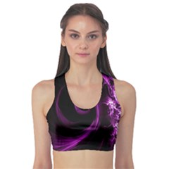 Purple Flower Floral Sports Bra by Mariart