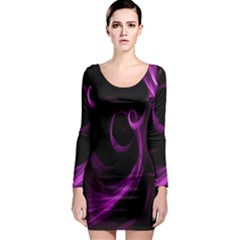 Purple Flower Floral Long Sleeve Bodycon Dress by Mariart