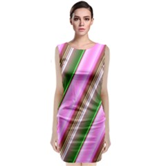 Pink And Green Abstract Pattern Background Sleeveless Velvet Midi Dress