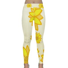 Sunflowers Flower Floral Yellow Classic Yoga Leggings by Mariart