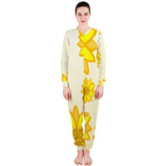 Sunflowers Flower Floral Yellow Onepiece Jumpsuit (ladies)