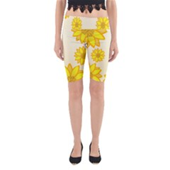 Sunflowers Flower Floral Yellow Yoga Cropped Leggings by Mariart