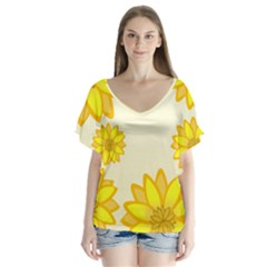 Sunflowers Flower Floral Yellow Flutter Sleeve Top