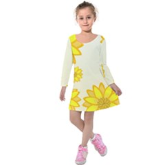 Sunflowers Flower Floral Yellow Kids  Long Sleeve Velvet Dress by Mariart