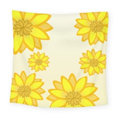 Sunflowers Flower Floral Yellow Square Tapestry (large) by Mariart