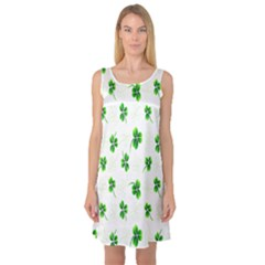 Leaf Green White Sleeveless Satin Nightdress by Mariart