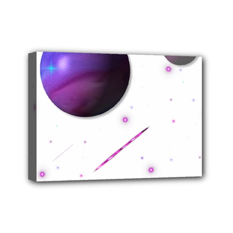 Space Transparent Purple Moon Star Mini Canvas 7  X 5  by Mariart