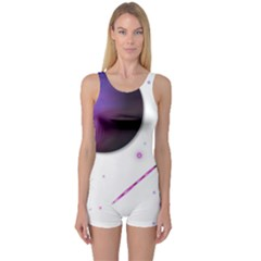 Space Transparent Purple Moon Star One Piece Boyleg Swimsuit by Mariart