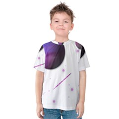 Space Transparent Purple Moon Star Kids  Cotton Tee by Mariart