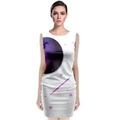 Space Transparent Purple Moon Star Sleeveless Velvet Midi Dress by Mariart