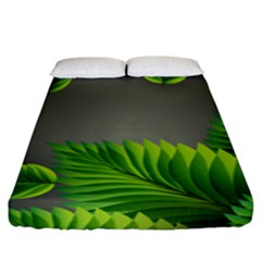 Leaf Green Grey Fitted Sheet (king Size)
