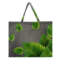 Leaf Green Grey Zipper Large Tote Bag by Mariart
