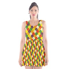 Flower Floral Sunflower Color Rainbow Yellow Purple Red Green Scoop Neck Skater Dress