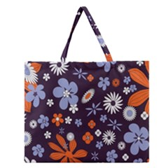 Bright Colorful Busy Large Retro Floral Flowers Pattern Wallpaper Background Zipper Large Tote Bag by Nexatart