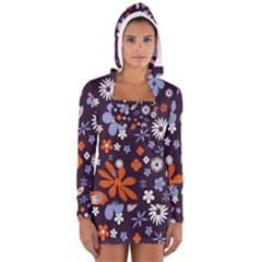 Bright Colorful Busy Large Retro Floral Flowers Pattern Wallpaper Background Women s Long Sleeve Hooded T Shirt by Nexatart