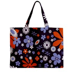Bright Colorful Busy Large Retro Floral Flowers Pattern Wallpaper Background Medium Zipper Tote Bag by Nexatart