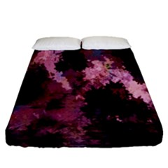Grunge Purple Abstract Texture Fitted Sheet (queen Size) by Nexatart