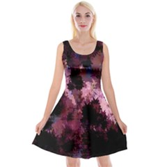Grunge Purple Abstract Texture Reversible Velvet Sleeveless Dress