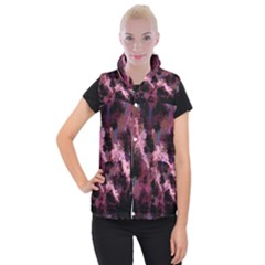 Grunge Purple Abstract Texture Women s Button Up Puffer Vest by Nexatart