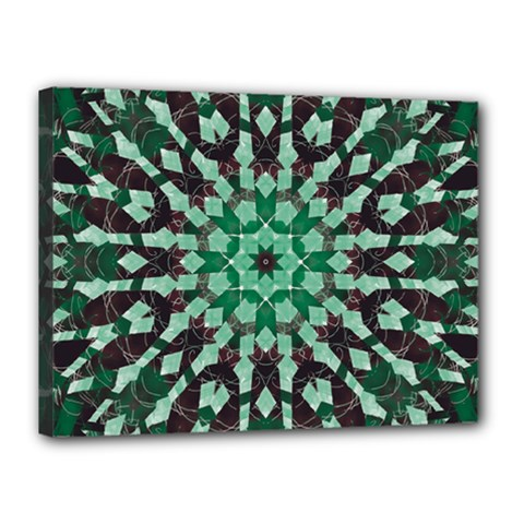 Abstract Green Patterned Wallpaper Background Canvas 16  X 12  by Nexatart