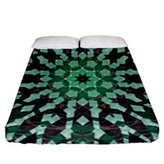 Abstract Green Patterned Wallpaper Background Fitted Sheet (queen Size)