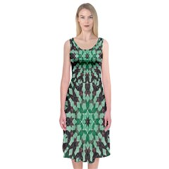 Abstract Green Patterned Wallpaper Background Midi Sleeveless Dress by Nexatart