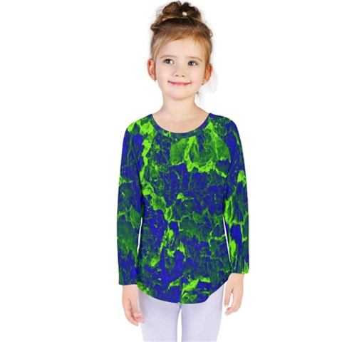 Abstract Green And Blue Background Kids  Long Sleeve Tee by Nexatart
