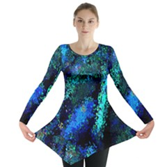 Underwater Abstract Seamless Pattern Of Blues And Elongated Shapes Long Sleeve Tunic