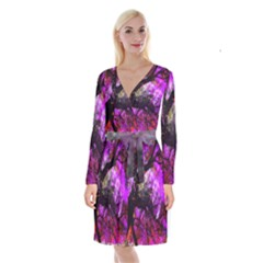 Pink Abstract Tree Long Sleeve Velvet Front Wrap Dress