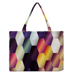 Colorful Hexagon Pattern Medium Zipper Tote Bag