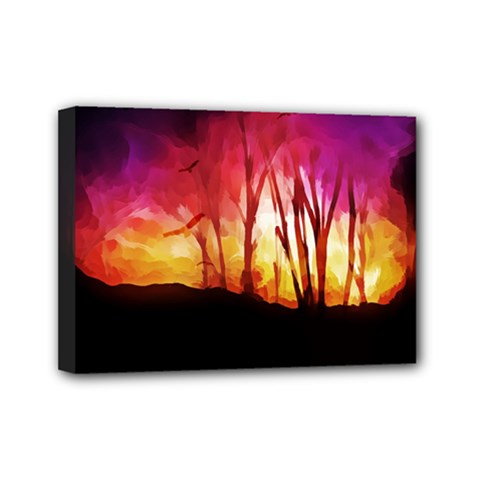 Fall Forest Background Mini Canvas 7  X 5  by Nexatart
