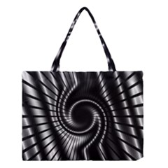 Abstract Background Resembling To Metal Grid Medium Tote Bag