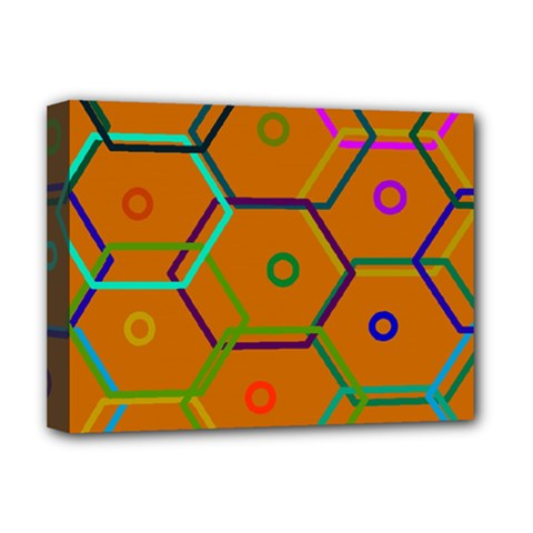Color Bee Hive Color Bee Hive Pattern Deluxe Canvas 16  X 12   by Nexatart