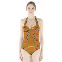 Color Bee Hive Color Bee Hive Pattern Halter Swimsuit by Nexatart