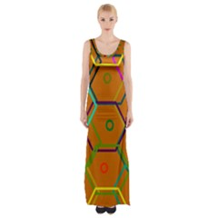 Color Bee Hive Color Bee Hive Pattern Maxi Thigh Split Dress by Nexatart