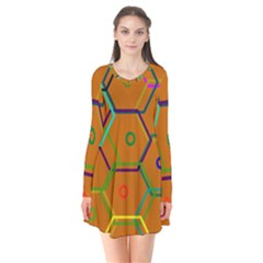 Color Bee Hive Color Bee Hive Pattern Flare Dress by Nexatart