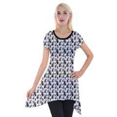 Pagan Pentacle Cat And Broomstick Wiccan Short Sleeve Side Drop Tunic by cheekywitch