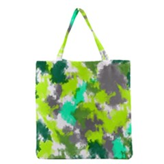 Abstract Watercolor Background Wallpaper Of Watercolor Splashes Green Hues Grocery Tote Bag by Nexatart