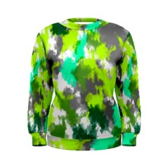 Abstract Watercolor Background Wallpaper Of Watercolor Splashes Green Hues Women s Sweatshirt