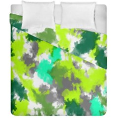 Abstract Watercolor Background Wallpaper Of Watercolor Splashes Green Hues Duvet Cover Double Side (california King Size) by Nexatart