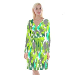 Abstract Watercolor Background Wallpaper Of Watercolor Splashes Green Hues Long Sleeve Velvet Front Wrap Dress by Nexatart