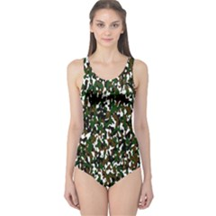 Camouflaged Seamless Pattern Abstract One Piece Swimsuit by Nexatart